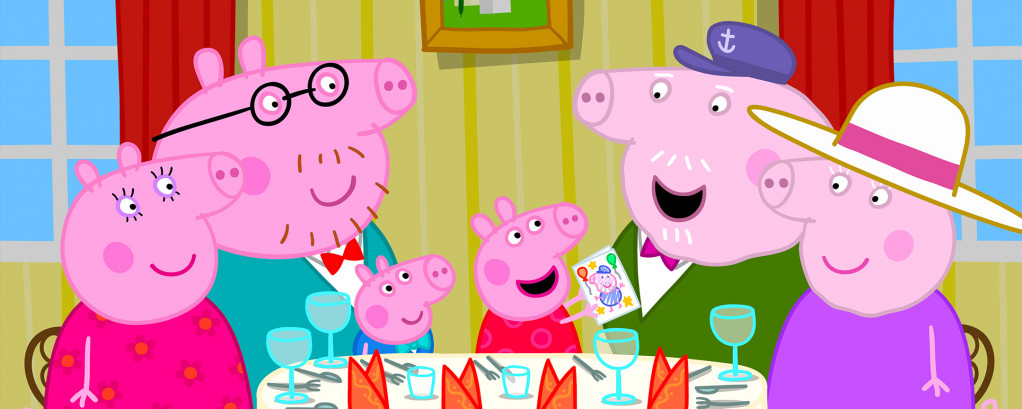 cartoon, pigs, family, dinner time, laughing