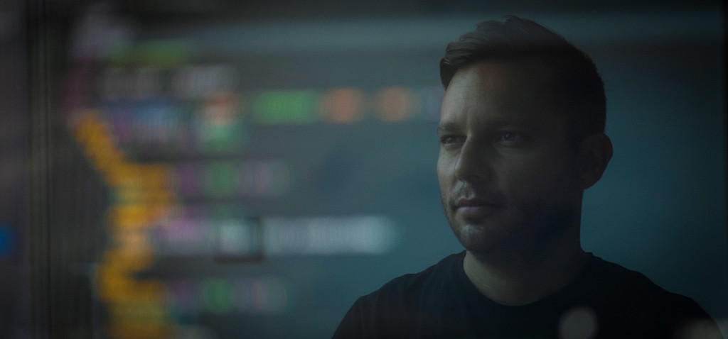 man using computer software