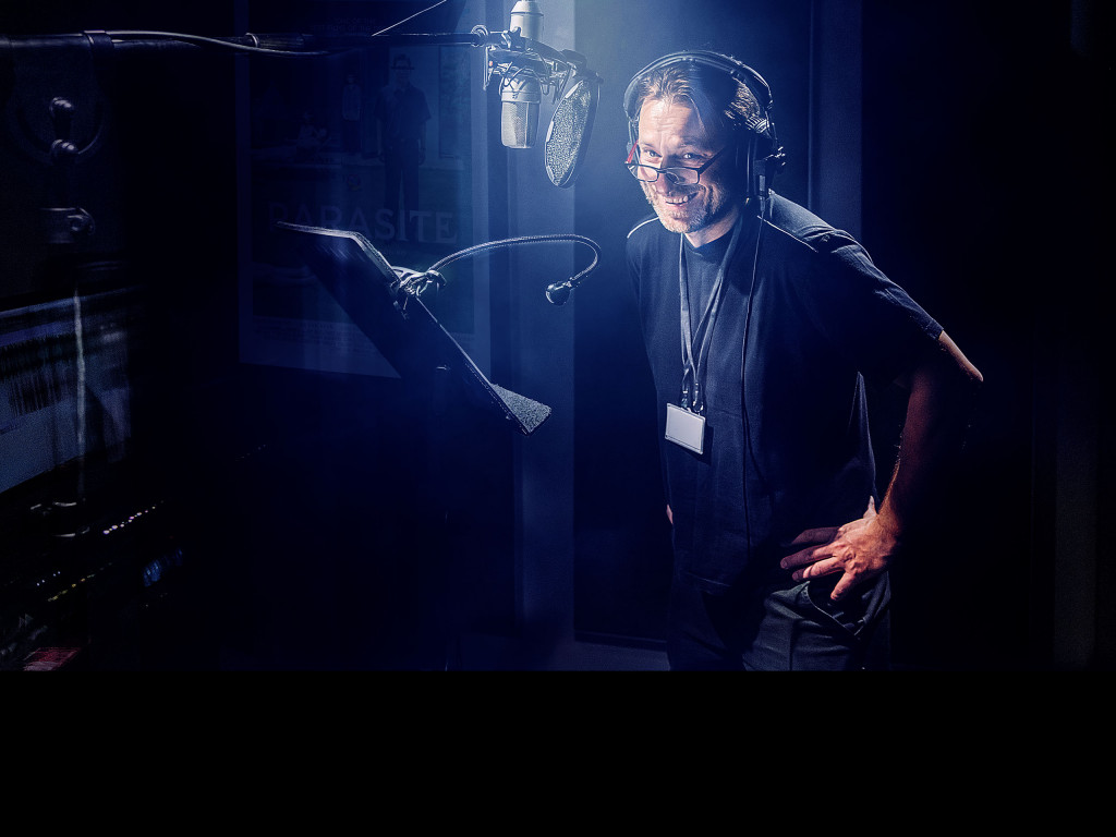 voice artist, recording session, microphone, smiling